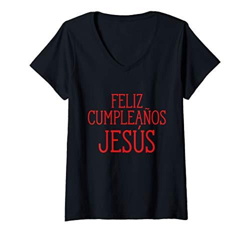 Womens Feliz Cumpleanos Jesus Happy Birthday Jesus Holiday Humor V-Neck T-Shirt