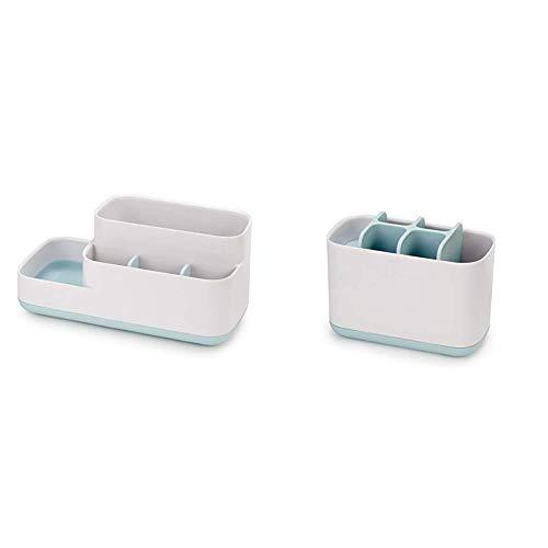 Joseph Joseph Easystore Badezimmer-Caddy, Plastik, weiß/blau + Easy-Store - Großer Zahnbürstenhalter, weiß/blau