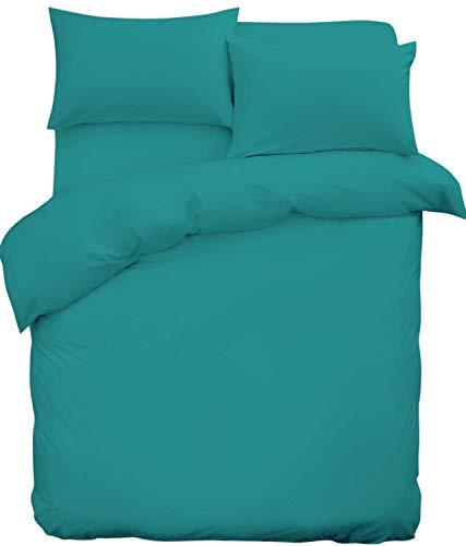 SASA CRAZE NON IRON Parcale Plain Dyed Duvet Cover & 2 Pillow Cases Bed Set (Super King, Teal)