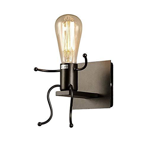 ALLOMN Aplique de pared Vintage, Dormitorio Lámpara de Noche Lámpara Retro Industrial Decoración Moderna Linterna de Metal Decoración Aplique de Pared E27 Base (Bombillas no Incluidas) (Simple)