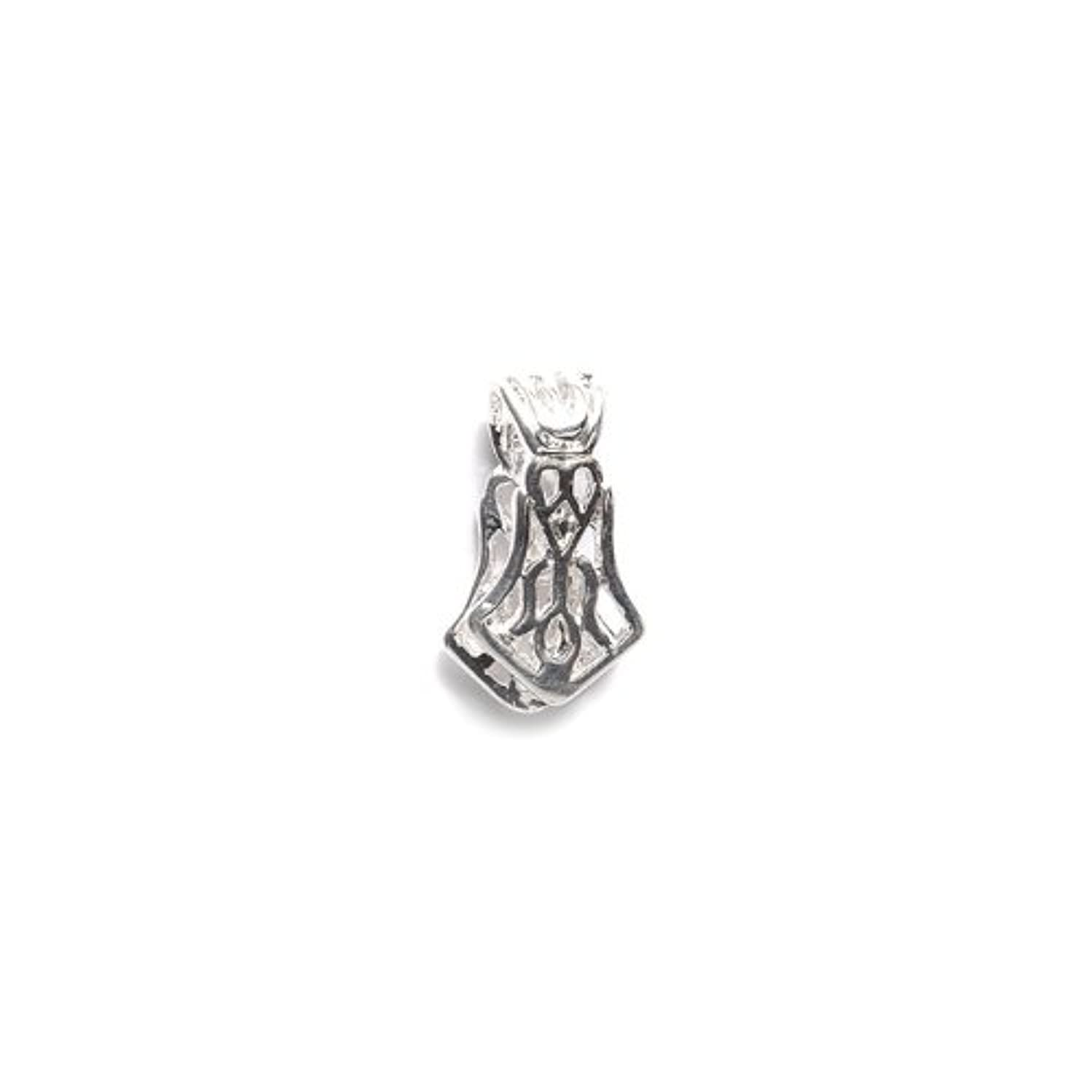 Shipwreck Beads Metal Pinch Bail with Scroll Work, 10 by 20 mm, Metallic, Silver, 4-Pack