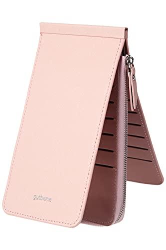 カードケース キャッシュレス 財布 長財布 大容量 薄型 26枚カード収納+ファスナーポケット ウォレット 小銭入れ カード入れ カードホルダー gutbene (ピンク)
