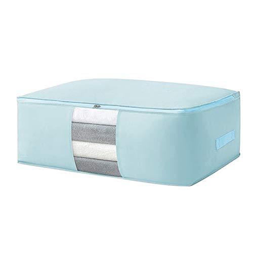 2 pcs Foldable Storage Bags Clothes Organizer Home Dustproof Bags Closet Organizer Quilt Under Bed Storage Bags (Color : Blue, Size : M 63x43x20.5cm)