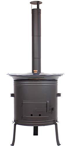Gulaschkessel Gulaschkanone 42 cm mit 22 Liter Gulaschtopf Set emailliert | Eintopfofen, Glühwein-Kessel, Feldküche, Suppenkessel | Kochkessel für Kesselgulasch