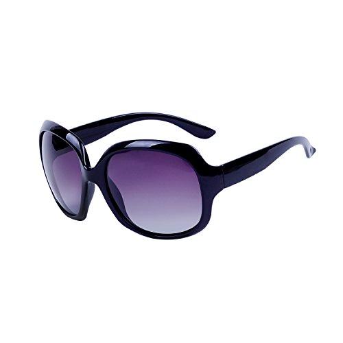 Qixuan QIXU Gafas de Sol Polarizadas Mujer Oversized Negro Protección UV400 Grandes de Marca y Caso