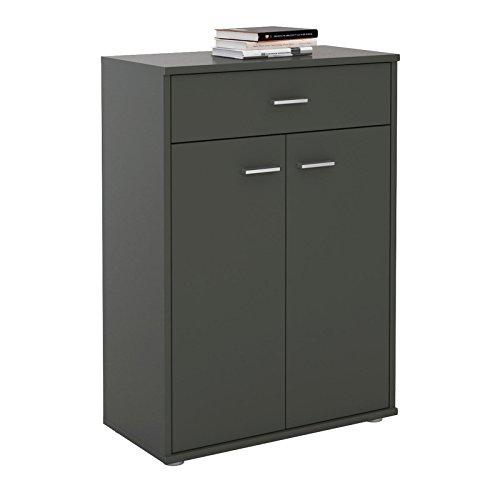 CARO-Möbel Kommode Sideboard Schrank Tommy in anthrazit, Anrichte Highboard mit Schublade und 2 Türen
