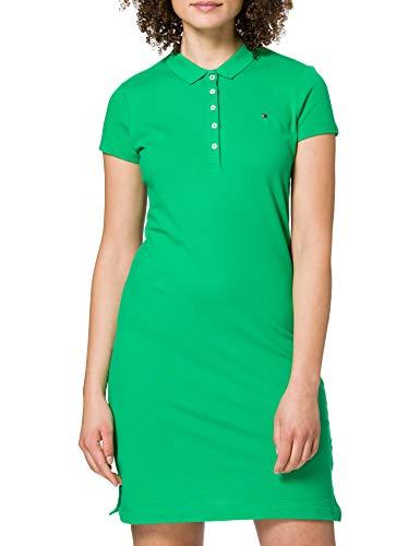 Tommy Hilfiger Slim Short Polo Dress SS Vestido Informal, Verde Primario, M para Mujer