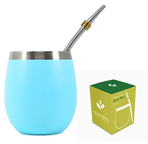 Yerba Mate Gourd - Beste Yerba Mate Set - Inclusief Dubbele Muur RVS Yerba Mate Cup Met RVS Mate Bombilla Straw - Novomates Teal Gourd 8oz (237ml)