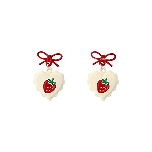 Pendientes de fresa Sweet Love Pendientes de personalidad con lazo rojo femenino Sen Pendientes de moda con diseño de super hadas