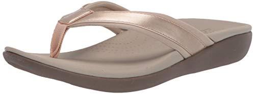 Clarks Women's Brio Sol Flip-Flop, Gold Synthetic, 090 M US