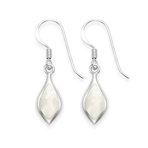 Heather Needham Sterling Silver Mother of Pearl Earrings, teardrop shape with silver back - Size: 13mm x 8mm plus wires Gift Boxed. DAINTY EARRINGS SMALLER THAN SHOWN.7912MOP.