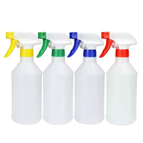 Cratone 4 stücke Kunststoff Transparent Trigger 500ML Leere Wasser Sprühflasche Zerstäuber Blume Pflanze Garten Bewässerung Werkzeug 500 ml (Farbe zufällig) (Weiß)