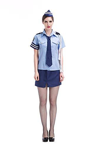 Reizwäsche Erwachsene Frauen Polizei Sexy Kostüm Idee Phantasie Cops Cosplay Schule Mädchen Uniform Hot Shirt Rock Kleidung Anzug Für Teen Girls-Blue_One Größe