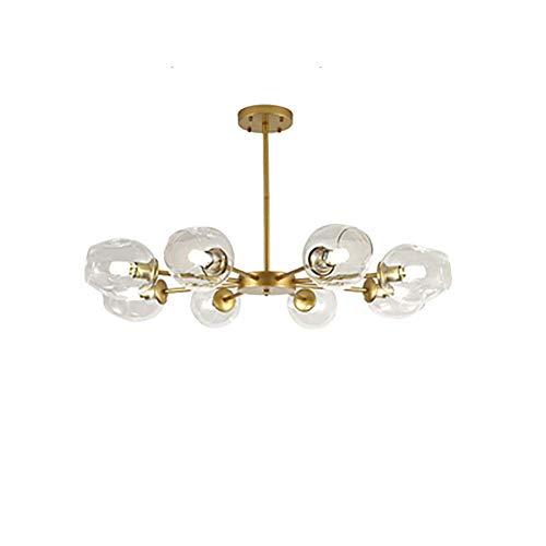 Lámpara de araña nórdica Bola de cristal Sputnik Rama de araña durante la luz con cortinas de vidrio transparente Vintage durante el accesorio de iluminación para la luz de techo del dormito