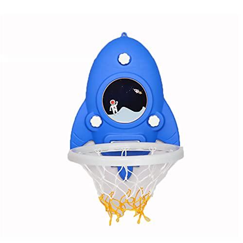 ZXCVB Baby Indoor Basketball Hoop, gancho pegajoso sin agujeros montado en la pared Kindergarten interior y exterior versión de dibujos animados de tiro azul
