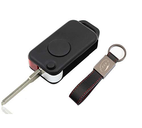 Schlüssel Gehäuse Fernbedienung für Mercedes 1 Tasten Autoschlüssel Funkschlüssel für Benz W168 W124 W202 1984-2004 (ohne Logo) mit Leder Schlüsselanhänger KASER
