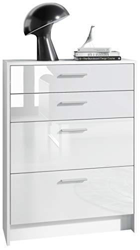 Kommode Alvor V2 Anrichte mit 4 Schubladen 76 x 102,5 x 33 cm Korpus in Weiß matt, Fronten in Weiß Hochglanz