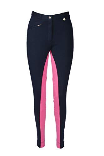 Damen Jodhpur Reithose Weiche Stretch Hose Alle Größen & Farben, Marineblau/Rosa, Size 14/30-Inch