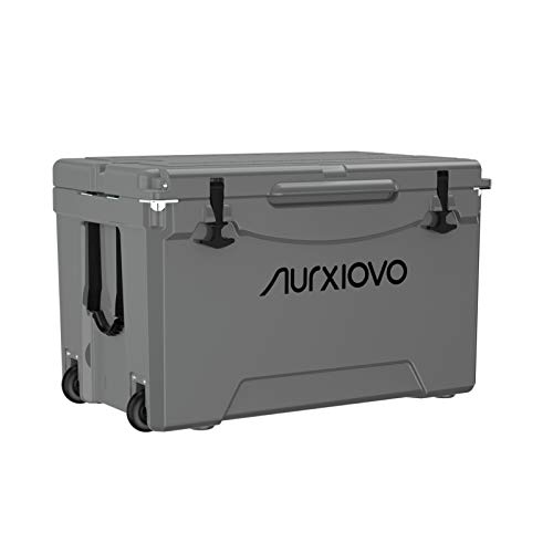 Nurxiovo 75 QT Cooler Heavy Duty Ice Chest with Wheels Keeps Ice up to 7 Days Ideal for BBQs, Fishing, Camping, Hiking, Picnic, Traveling, Tailgating Outdoor Activities, Polyethylene, Haze Grey