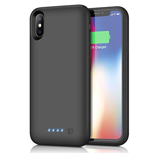 kilponen Funda Batería para iPhone X/XS/10, [6500mAh] Funda Cargador Portatil Batería Externa Ultra Carcasa Batería Recargable Power Bank Case para iPhone X/XS/10 (5.8 Pulgadas)