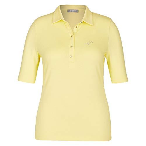 Rabe 44-323303 003 Damen Poloshirt mit V-Ausschnitt und Kleiner Knopfleiste Uni, Groesse 46, gelb