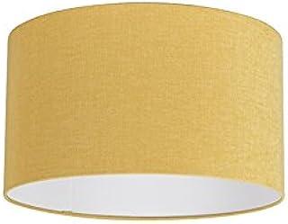 QAZQA Moderno Algodón y poliéster Pantalla tela amarilla maíz 35/35/20, Redonda/Cilíndrica Pantalla lámpara colgante,Pantalla lámpara de pie