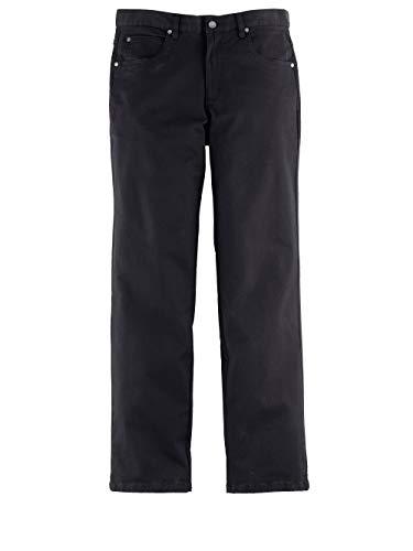 Men Plus by HAPPYsize Herren-Hose – Freizeit-Hose aus Baumwoll-Mix, Stoff-Hose in Jeans-Optik, unifarbene Büro-Hose in Schwarz Gr. 62