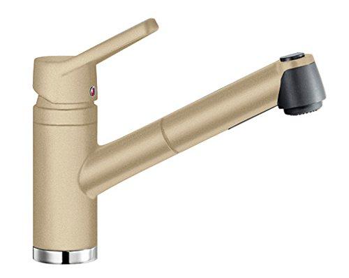 BLANCO Actis-S, Küchenarmatur mit ausziehbarer Schlauchbrause, Silgranit-Look, champagner, Hochdruck, 1 Stück, 513987