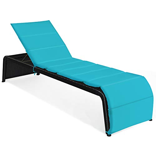 Tangkula Outdoor Chaise Lounge Chair, 5-Position Adjustable Rattan Recliner Chair w/Cushioned Seating and Adjustable Feet, Multifunctional Couch Furniture for Garden, Patio, Poolside (1, Turquoise)