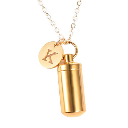 Stainless Steel Cremation Urn Ashes Cylinder Vial Pendant Necklace Letter Initial Charm Memorial Jewelry (1,H)