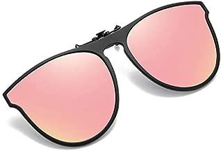 OopsMi Polarized Clip-on Sunglasses TR90 Frame Flip Up Driving Glasses For Prescription Glasses (Pink Lens)