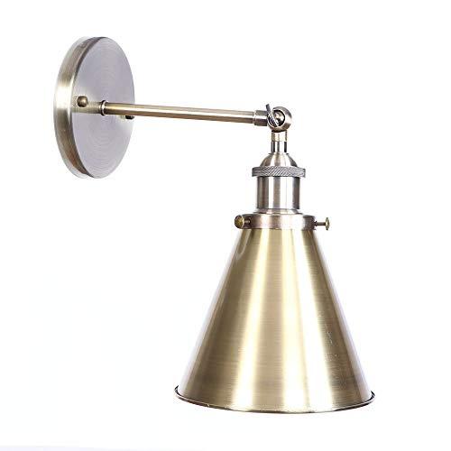 Wandlamp van ijzer, retro ijzer, bronskleurig, E27, vintage-stijl, wandlamp met enkele kop van metaal, voor slaapkamer, keuken, restaurant, plafond, B