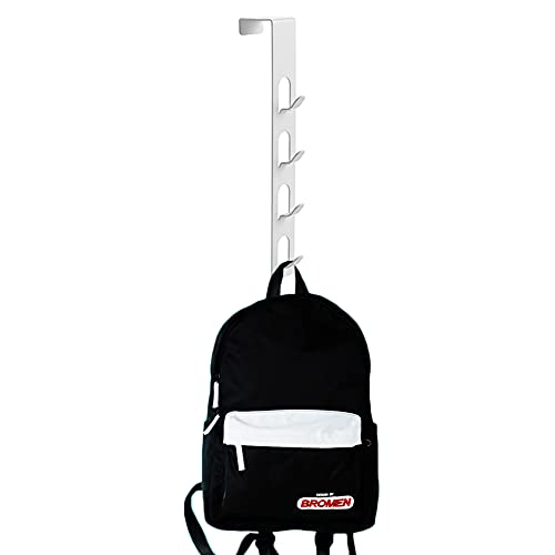 4 Layers Metal Hats Hanger, Strong Vertical White Coat Hook, Over Door Rack for Hanging Bags Jams Scarf Keys and More.