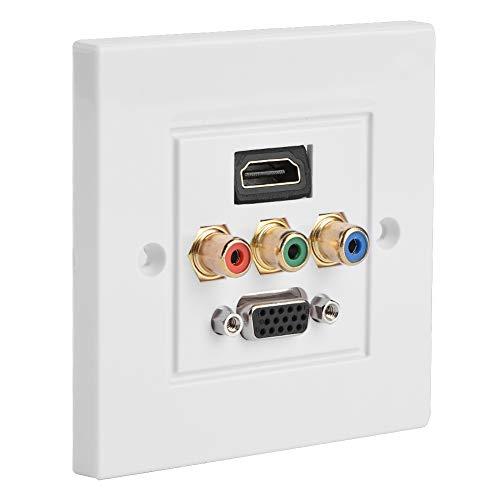 Verteilung und Organisation Multimedia-Wandplatten Steckdosenleiste, VBESTLIFE-Composite-HDMI-VGA-3RCA-USB-Audio-Video-Adapterbuchse Kabelsteckdose, Größe 85 mm x 85 mm
