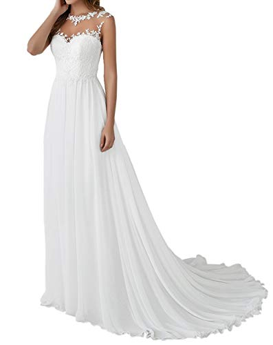 Romantic-Fashion Brautkleid Hochzeitskleid Weiß Modell W110 A-Linie Stickerei Satin Chiffon DE Größe 48