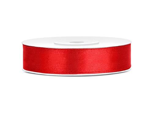 25 m x 12 mm Rolle Satinband Geschenkband Schleifenband Dekoband Satin Band (Rot)