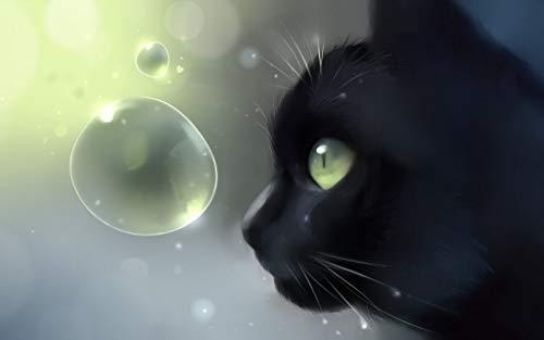 Gato negro mirando burbujas   Puzzle 1000 Piezas Adultos Niños De Madera Juego Clásico Puzzle Toys Puzzles