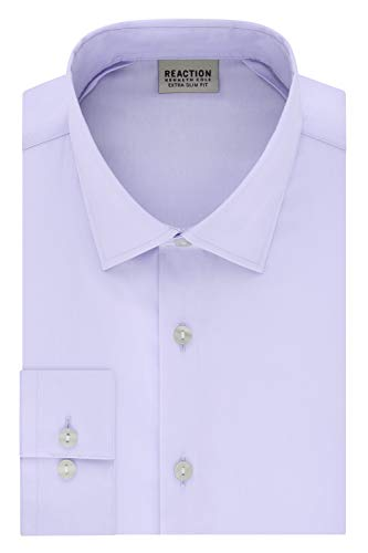 Kenneth Cole REACTION mens Extra Slim Fit Stretch Stay-crisp Collar Solid Dress Shirt, Lavender, 15 -15.5 Neck 34 -35 Sleeve Medium US