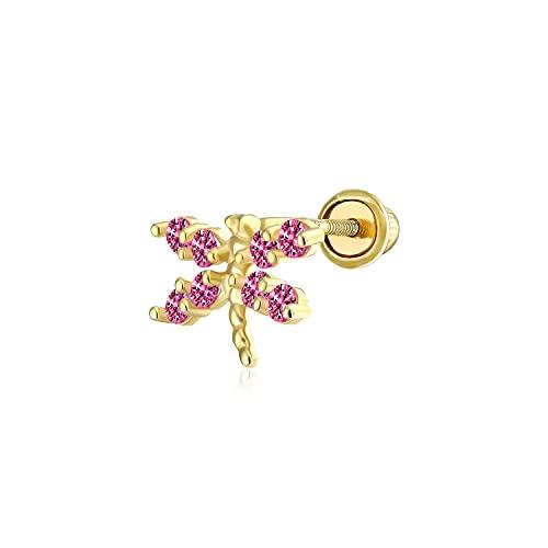 Pendiente de cartílago de la mariposa de la libélula para unisex de corte redondo D/VVS1 diamante en oro amarillo de 14 quilates chapado en plata 925