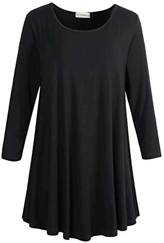 LARACE Women 3/4 Sleeve Tunic Top Loose Fit Flare T-Shirt(3X, Black)