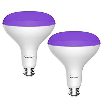 Onforu UV LED Black Light Bulbs,15W BR30 E26 Black Light Bulb for Glow in The Dark, UVA Level 385-400nm, uv Light Bulb for Blacklight Party, Body Paint, Fluorescent Poster, Neon Glow (2 Pack)