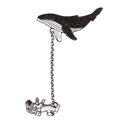 Broche de dibujos animados de moda, insignias de pez, astronauta, delfín, tiburón, ballena, grúa de Origami, alfileres esmaltados, bolsa de mezclilla, Animal marino-astronauta