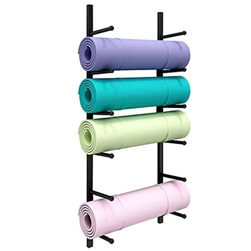 Estante de Almacenamiento para Esterillas de Yoga Rack de toalla de almacenamiento de estera de yoga de pared con ganchos for colgar bandas de resistencia de la correa de yoga for el gimnasio y estudi