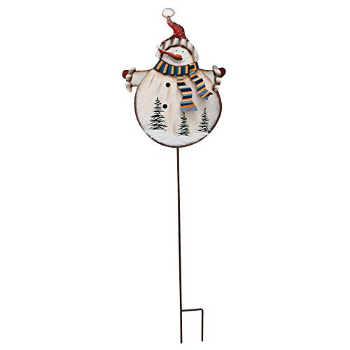 Kilipes Christmas Snowman Garden Stake Rustic Metal Snowman Yard Stake Xmas Outdoor Holiday Yard Decoration Snowman Decorative Sign for Lawn