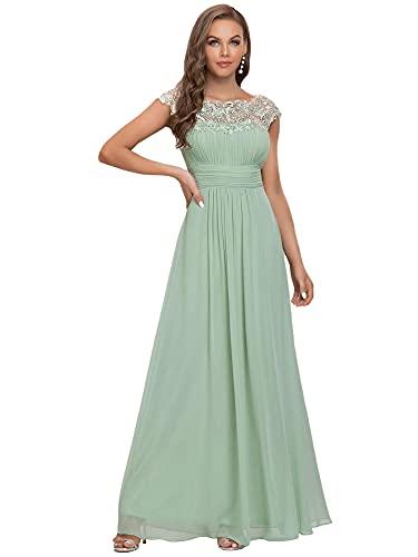 Ever-Pretty Damen A-Linie Abendkleid Spitze Festliches Kleid Frauen Zeremonie Lange Mint Grün 38