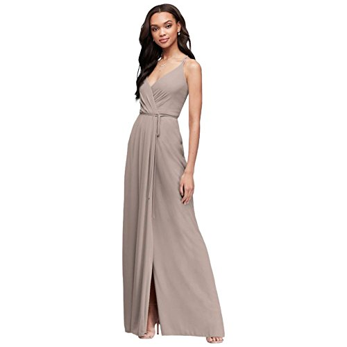 Double-Strap Long Georgette Bridesmaid Wrap Bridesmaid Dress Style F19755, Biscotti, 18