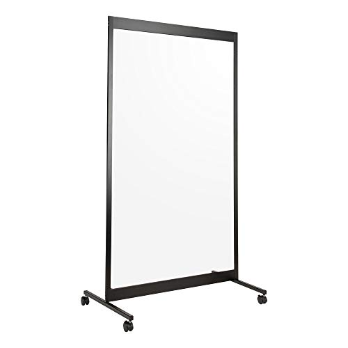 Norwood Commercial Furniture Clear Room Divider Partition - Portable Sneeze Guard Screen on Wheels for Social Distancing, Home, Office, Waiting Area, or School - 3.5' W x 6.5' H Single Panel