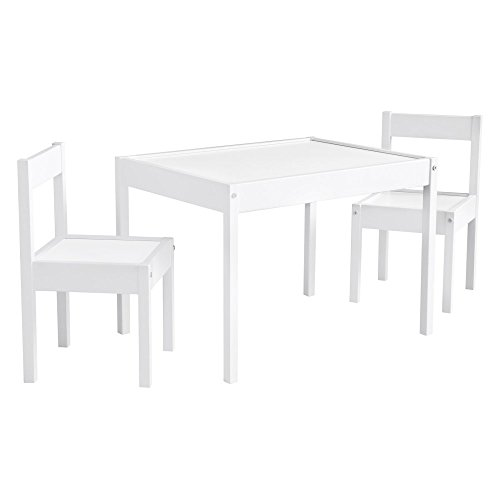 Baby Relax Hunter 3 Piece Kiddy Table and Chair Set, White (DA7501W)