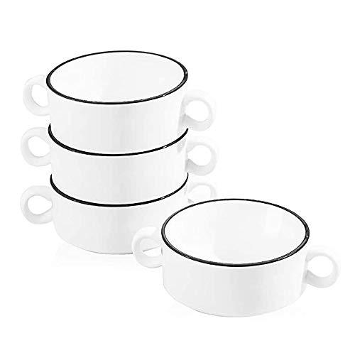 AWYGHJ Tazones de Sopa de cerámica con Asas Dobles, Sopa de Cebolla Francesa de 10 onzas, para Sopa, Cereal, estofado, frío, Taza de soufflé de Porcelana, Juego de 4, Blanco con línea Negra