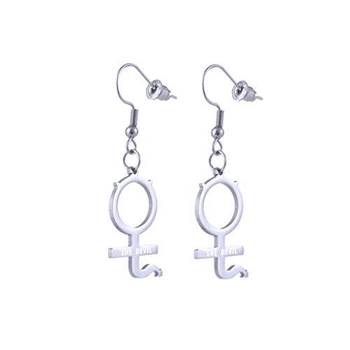 VVXXMO Colgante de pendientes góticos con símbolo de acero inoxidable, Pendientes de collar con colgante de Streetwear, Conjunto de joyería para mujer